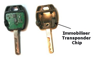 Cover removed showing circuit board & transponder chip
